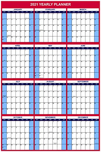 2021 Large Wall Dry Erase Office Calendar/Yearly Planner 24x36