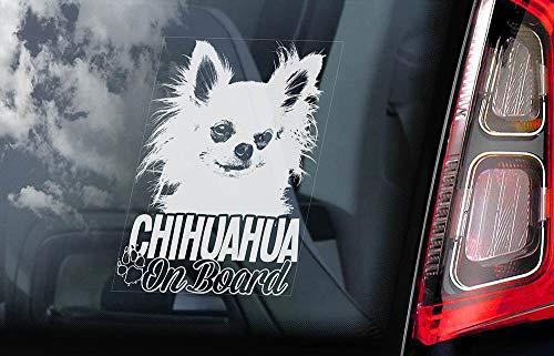 43LenaJon Aufkleber für Autofenster, Motiv: Chihuahua an Bord, niedlich, dekorativ, Aufkleber