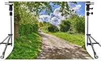HD自然の風景の背景道路緑の木の写真の背景7x5ftをテーマにしたパーティーの写真ブースYouTubeの背景LFMT119