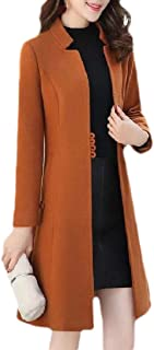 Womens Winter Fall Slim Fit Open Front Oversized Pea Coat Jacket