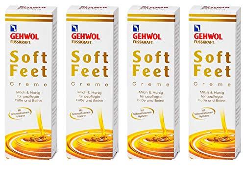 4x GEHWOL FUSSKRAFT Soft Feet Creme mit Milch & Honig 125 ml (500 ml)