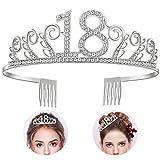 Diealles 18 Anni di Compleanno Donna Tiara Birthday Corona 18 Compleanno per Feste di Compleanno o Torte di Compleanno
