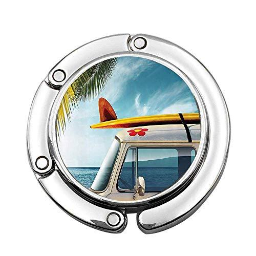 Van Vintage en la Playa con Tabla de Surf en el Techo Journey Spring Sky Transporte Imagen Personalizada