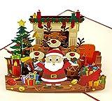 MOKIO® Pop-Up Weihnachtskarte – Weihnachtsmann, Rentier & Geschenke – 3D Grußkarte Merry Christmas, handgefertigte Geschenkkarte zu Weihnachten