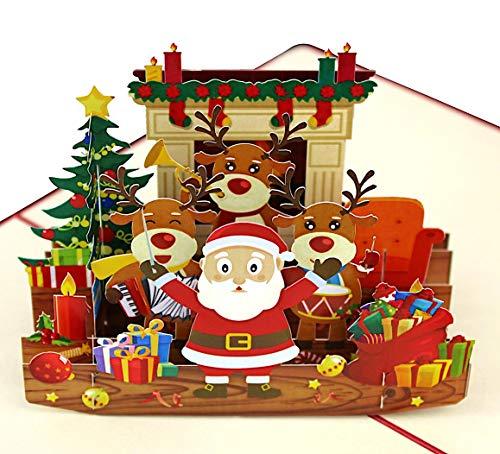 3D Weihnachtskarte [NEU!] – Weihnachtsmann, Rentier & Geschenke – XXL Grußkarte Merry Christmas, handgefertigte Geschenkkarte zu Weihnachten