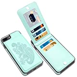 LakiBeibi iPhone 8 Plus Case, Premium Leather Embossed iPhone 8 Plus Wallet Case with Card Holder for Girls Full Protection 8 Plus Phone Case with Screen Protector for iPhone 6/6s/7/8 Plus, Mint