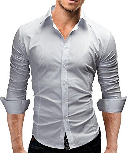 MERISH Hemd Slim Fit 14 Farben Größen S-XXL Herren Modell 01 Weiß XXL