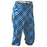 Royal & Awesome Men's Golf Knickers, Blue Plaid Trews, 32' Waist-81 cm