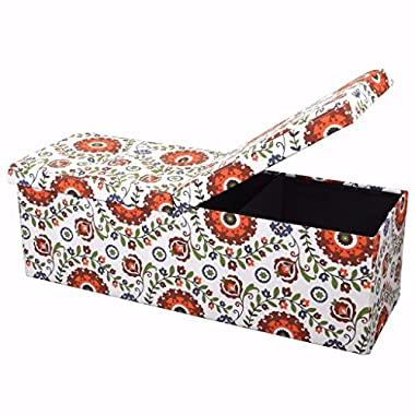 Otto & Ben 45  Storage Ottoman with SMART LIFT Top, Upholstered Large Folding Foot Rest Stools Table Ottomans Bench, Retro Floral