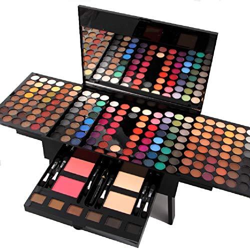 Trousse de maquillage tout-en-un pour fard à paupières minéral, fard à paupières 2 couleurs, correcteur 2 couleurs, sourcil 6 couleurs, un eye-liner, 6 pinceaux éponge