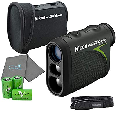 Nikon 16224 Arrow ID 3000 Bowhunting Laser Rangefinder Bundle with 3 CR2 Batteries and a Lumintrail Cleaning Cloth from Nikonxx