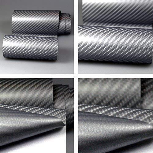 TipTopCarbon 8,55€/m² Autofolie 4D Carbon Grau Metallic 152cm breit BLASENFREI mit Luftkanäle 3D Flex Selbstklebende Folie Auto folierung
