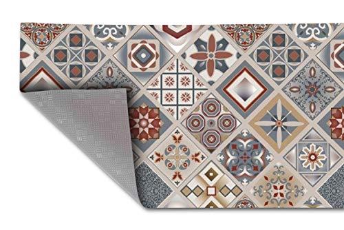 HomeLife Tapis de cuisine antidérapant lavable en vinyle, 52 x 200 cm, fabriqué en Italie, anti-taches, en PVC, intérieur et extérieur, carrelage, faïence colorée, long, en caoutchouc [200 cm]