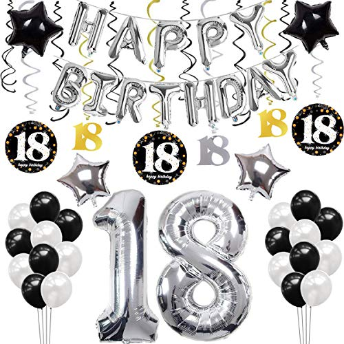 sancuanyi 18 Geburtstag Dekoration, Silber und Schwarz 18 Geburtstag Deko,Happy Birthday Ballons Banner für Mädchen und Jungen