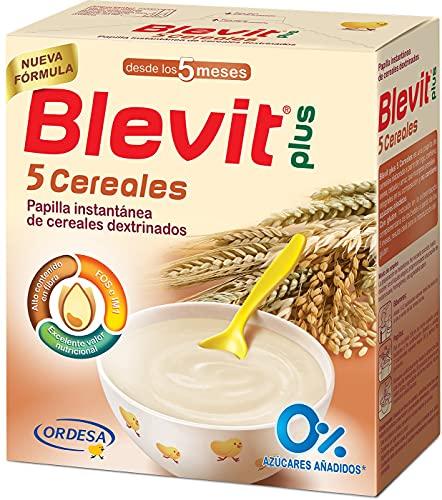 Blevit Plus 5 Cereales - Papilla de Cereales para Bebé con Harina de Avena y Harina de Trigo - Sin Azúcares añadidos - Ayuda a regular el tránsito intestinal - Desde los 5 meses - 600g