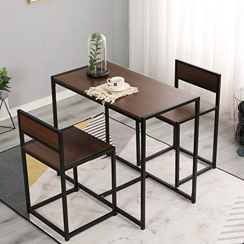 soges Esstisch Esszimmertisch Essgruppen Möbelset Kleiner Tisch mit 2 Stühlen für Esszimmer oder als Couthtisch Kaffeetisch für Balkon