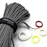 PSKOOK Survival Paracord Parachute Fire Cord Survival Ropes Red Tinder Cord PE Fishing