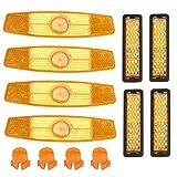 LOPOTIN 8pcs Riflettore Bicicletta Riflettore Sicurezza Arancione Riflettore Bicicletta Raggi Riflettore Pedale della Bicicletta Riflettori Bicicletta Raggi Ruote e Pedali Ciclismo Strada Montagna