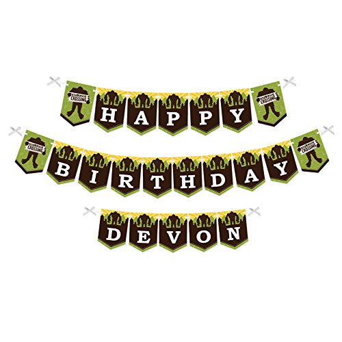 Big Dot of Happiness Personalized Sasquatch Crossing - Custom Bigfoot Birthday Party Bunting Banner and Decorations - Happy Birthday Custom Name Banner