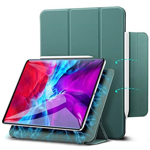 "ESR Rebound Magnetic Smart Case para iPad Pro 12,9""2020/2018, Acessório Magnético Conveniente [Suporta Pencil Pairing & Charging] Capa Smart Case, Auto Sleep/Wake Trifold Stand Case - Verde Pinho"