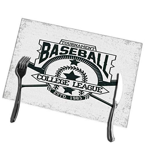 Winter-South Esstisch Tischsets Vintage Grange Stamp Baseball Emblem Sport Logo Kreative hitzebeständige Tischsets 12 '(B) X 18' (L)