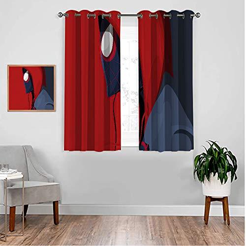 VICWOWONE Black Out Cortinas Miles morales Spiderm-an para sala de estar infantil, decoración de niños, cortinas estampadas, 183 x 160 cm