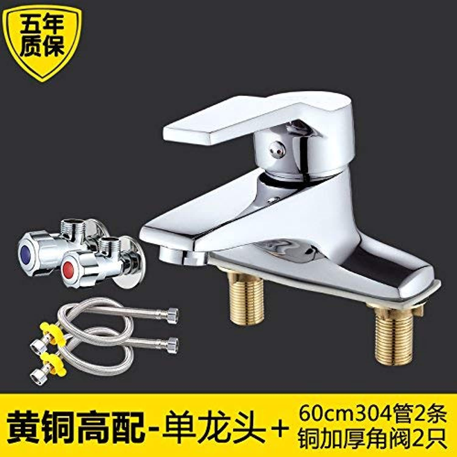 Oudan The brass body faucet hot and cold basin basin Two holes basin three hole basin faucet bathroom faucets, copper, steel pipes with high +60cm304 + Copper Angle Valve