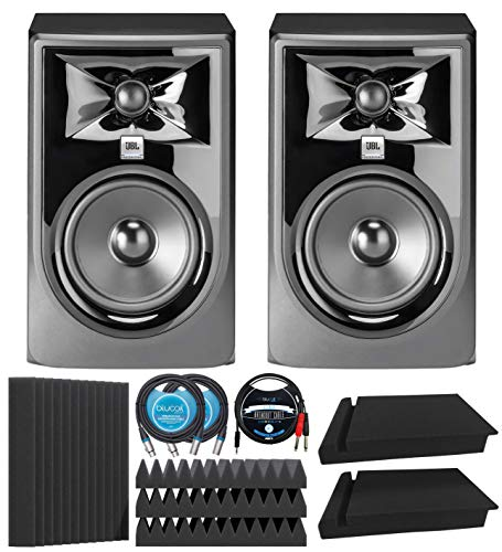 JBL Professional 305P MkII Next-Generation Studio Monitors (2-pk) Bundle with Blucoil 12' Acoustic Wedges (4-pk), 10' XLR Cables (2-pk), 5' TRS to TS Stereo Breakout Cable, and Isolation Pads (2-pk)