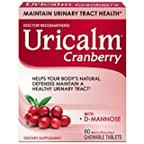Uricalm Cranberry, Daily Dietary Supplement Chewable with D-Mannose, Berry, 60 Count