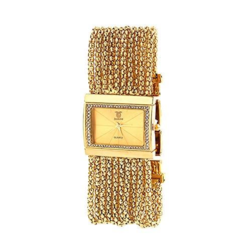 Relojes Reloj de Cuarzo Trendy Señoras Reloj Pulsera Reloj de Cuarzo Reloj Casual de Las Mujeres Impermeable, Día de la Madre O Regalo de Graduación,Oro