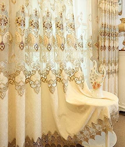 TIYANA Luxury Many popular Popular popular brands Beige Embroidered Cheille Panel Lo 96 Curtain inch