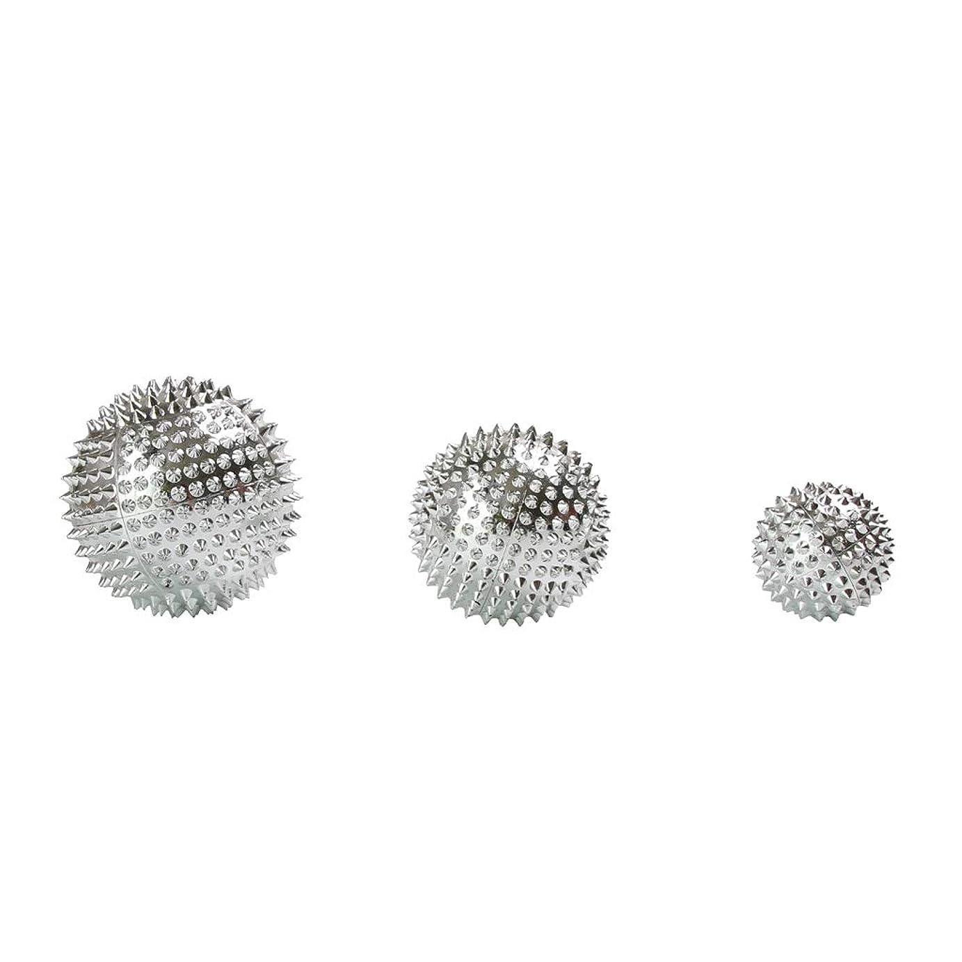 投票理想的重要なFenteer 3個セット 磁気マッサージボール スパイク ローラー マッサージ 2色選べ - シルバー