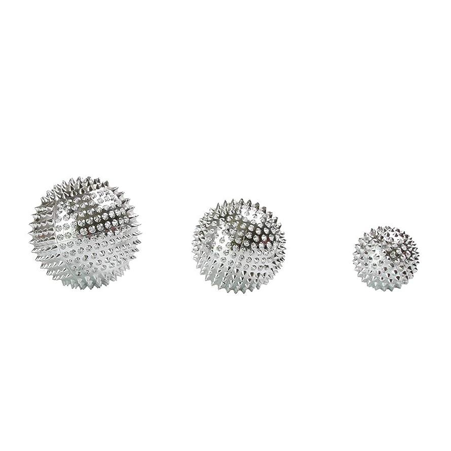承知しましたデイジー苦行Fenteer 3個セット 磁気マッサージボール スパイク ローラー マッサージ 2色選べ - シルバー