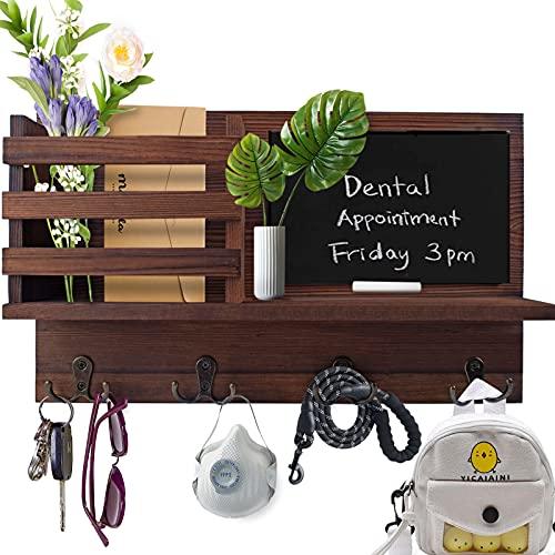 Megadream - Supporto da parete in legno, per chiavi, in legno, con 4 ganci doppi, per ingresso, ufficio, cucina e ripostiglio.