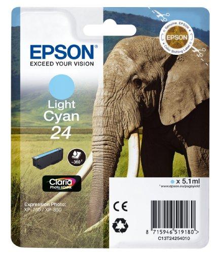 Epson 24 Serie Elefante Cartuccia Getto d'Inchiostro, Ciano Chiaro, con Amazon Dash Replenishment Ready