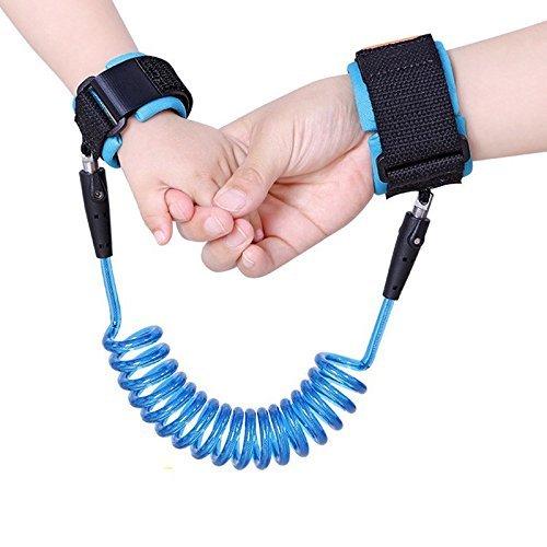 Capol Baby antifurto cintura-Walking mano cinghia da polso di sicurezza Link Bungee Guinzaglio Imbracatura per bambini(2,5M Blue)