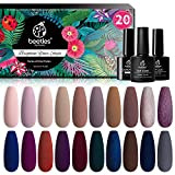 Beetles Vernis Semi Permanent, Lot de Vernis à Ongles Gels 20 Couleurs 5ml avec Base de Vernis et Top Coat Mat et Brillant 7,5ml Sèche sous Lampe UV/LED DIY Manucure Nude Paillettes Rouge Cadeau Femme