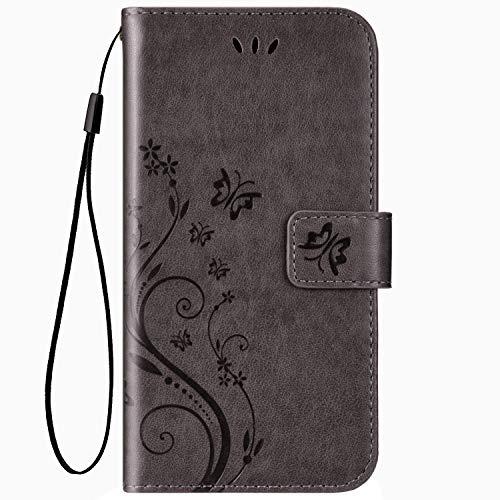 Hpory Compatible avec Xiaomi Redmi Note 7 Coque, Housse Etui en Cuir PU Coque à Rabat Magnétique Wallet Case en Relief Papillons Etui Pure Color Leather Case avec Fentes de Carte,Gris