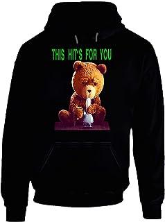 JCYtees Ted The Talking Bear Smoking Bong Wahlberg Movie Fan Hoodie Black.