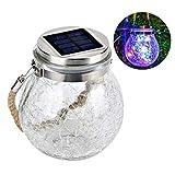 Yuehuam Luz Colgante Solar Exterior Impermeable Led Linterna Solar Jardín Luces de Cambio de Color Bola de Cristal Agrietada Lámpara Solar para La Fiesta de Navidad Árbol Patio