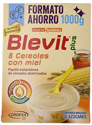 Blevit Plus 8 Cereales Miel, 1 unidad 1000 gr. A partir de los 5 meses, contiene gluten.