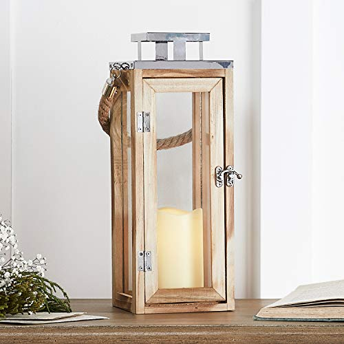 Lights4fun Salcombe Holz Laterne mit LED Kerze Batteriebetrieb Timer 34cm
