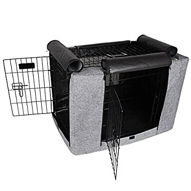 Petsfit Crate Cover for 30 Inches Wire Crates,30  Lx19 Wx21 H,Two Doors (Grey)