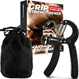 Grip Strength Trainer, Adjustable Hand Grip Strengthener, Forearm Exerciser, Finger Strengthener Trainer (11 to 132 LB), Wrist Forearm Grip Workout | Home Gym Exercise Equipment, Workout Gear For Home