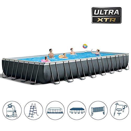 Intex Ultra Quadra XTR 975 x 488 x 132 cm Frame Pool Set, Dunkelgrau