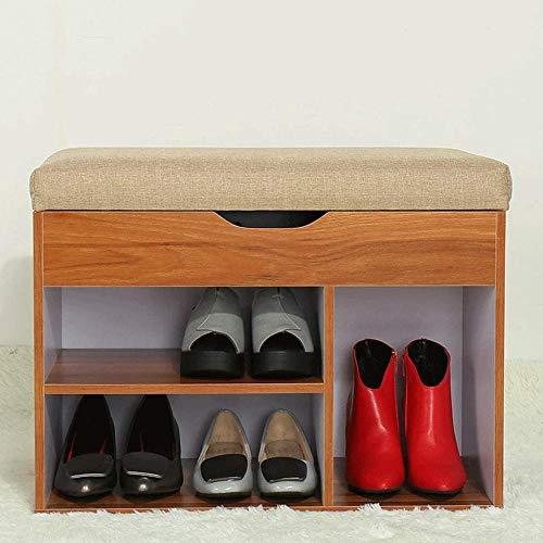 ZXCN Zapatero Taburetes para Zapatos Taburete para Almacenamiento de Zapatos con Doble Tapa (Color: veta de Madera Oscura)