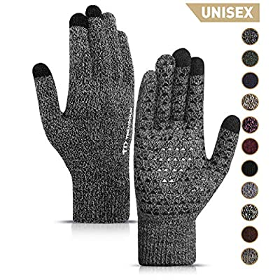 TRENDOUX Winter Gloves for Men, Touch Screen Glove for Women Adult - Thermal Liner - Non-Slip Grip - Elastic Cuff - Hands Warm in Cold Weather - Fit for Driving Typing Working Biking - Black Gray - L