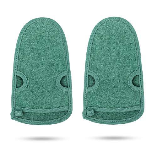 PHOGARY 2 Stück Peelinghandschuh rau für Körper, Dusch Schwamm Body Gesicht - Peeling für Hamam, Sauna, Dusche, Körperpeeling & Massage Handschuhe (Grün)