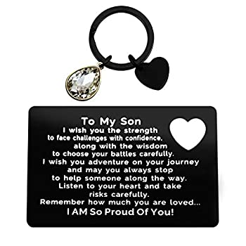 Inspirational Gifts for Son from Mom To My Son Engraved Wallet Card Inserts with Motivational Quotes Christmas Birthday Graduation Gift Ideas for Men Him Boys groom Deployment Gifts from Parents