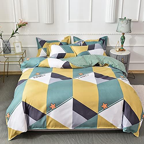 FENGCHENG Cama de 4 piezas arenada sábanas de algodón fresco cama individual con funda nórdica de matrimonio a juego de 4 piezas de 1,8 m